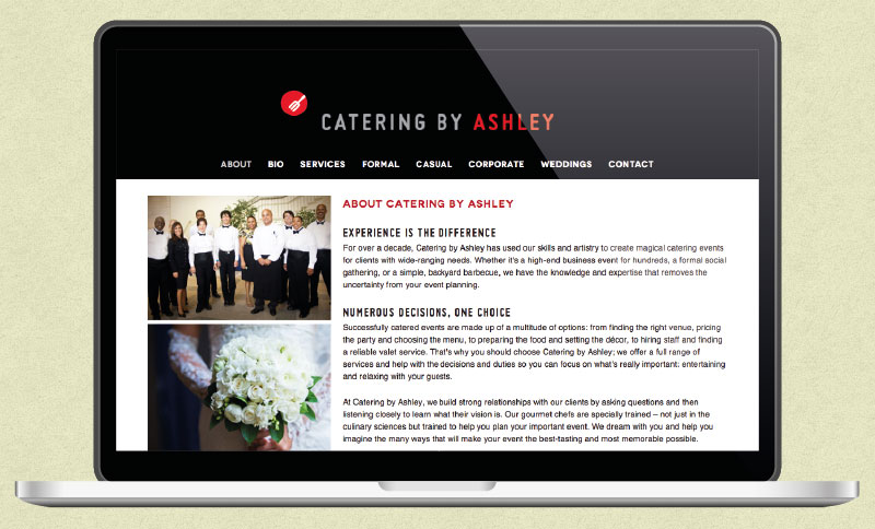 Website Development and Internet Marketing for Catering by Ashley
