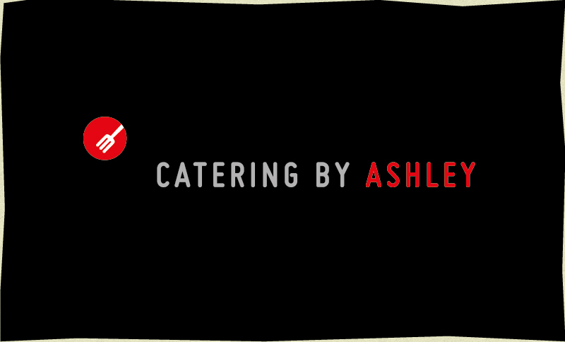 Catering by Ashley's logo on top of a black background